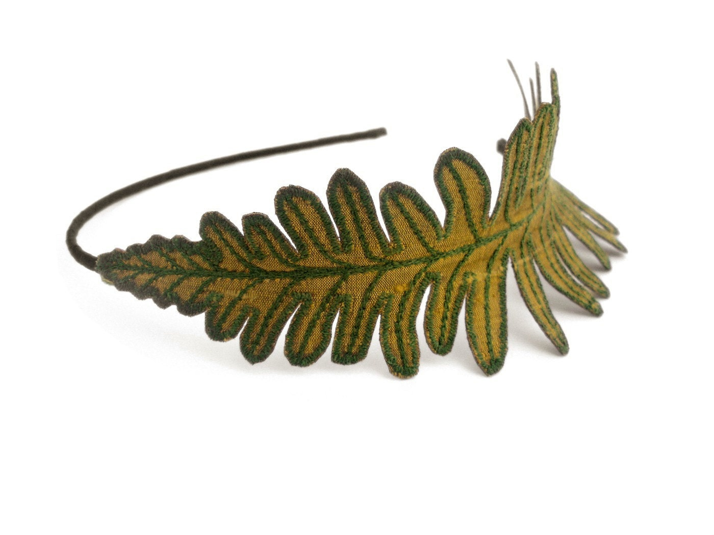 Fern leaf headband golden olive green with sage embroidery