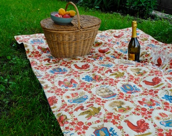 SALE - American Thanksgiving PICNIC BLANKET - Handmade Blanket with Vintage Americana Red White and Blue Colonial