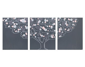 Triptych Wall Canvas Art - Charcoal Gray and Pink Tree Painting - Large 50x20