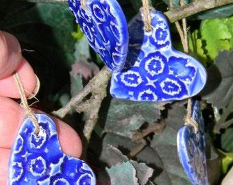 Heart  Tag Ornament  (4) - Ceramic  Glazed   Handmade -  cobalt blue wine or gift  tags