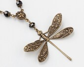 Handmade Jewelry Necklace gold dragonfly flower leaf filigree vintage black crystal Victorian pendant Statement Necklace Gift R1119