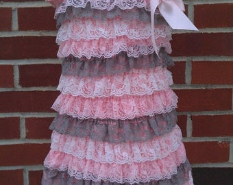 Petti Lace Ruffle Dress size small , medium, or large Pink, Gray, White