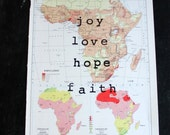 """joy, love, hope & faith hand stamped on vintage atlas map of Africa - 10"""" x 14"""" - wall decor"""