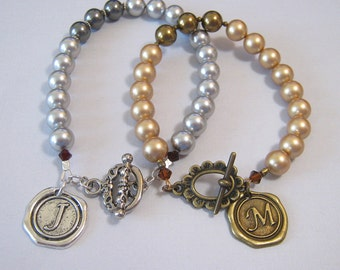 Pearl Bracelet with Wax Seal Initial Charm - Made To Order - in Silver or Bronze (BL-00)