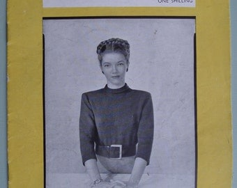 Vogue-Knit Book No 62 1940s Simple Sweaters Vintage Vogue Knitting Patterns 40s original patterns Second World War women's jumpers