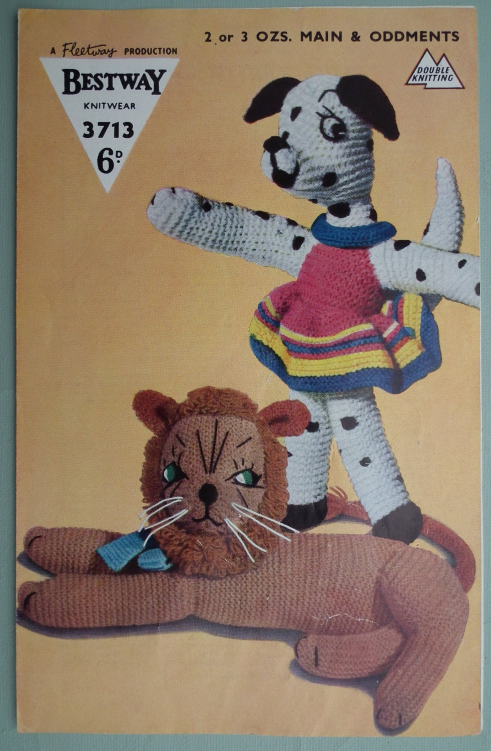 Vintage Knitting Patterns Toys : Vintage 1940s 1950s Knitting Pattern Soft Toys by sewmuchfrippery