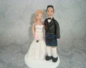 Personalized Bride & Groom Scottish Wedding Cake Topper