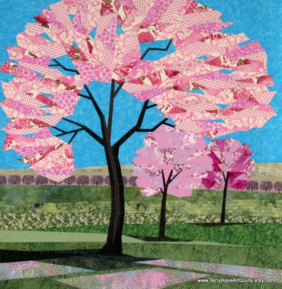 """Art Quilt - """"Spring Blossoms"""" - Cherry Blossom Trees in the Springtime - 46"""" x 47"""""""