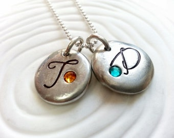 Personalized Birthstone Initial Necklace- Hand Stamped Two Initial Mother's Birthstone Necklace