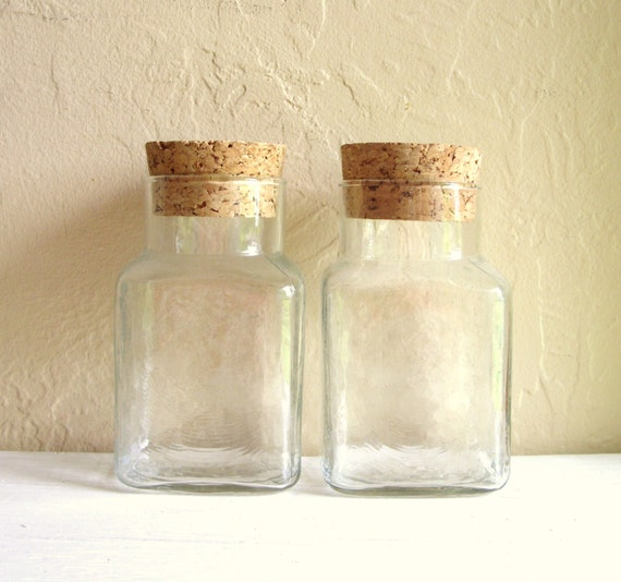 pair of matching glass jars with cork lids bottles. Black Bedroom Furniture Sets. Home Design Ideas