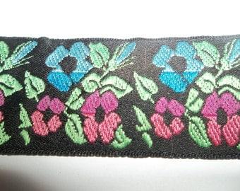 "Poppy Pink Flower Jacquard Ribbon Trim Pink Blue Green Black Floral Boho Trim Hippie Ribbon 1 5/16"" Wide x 5 Yards Long"