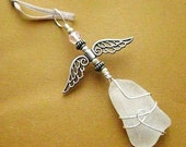 Irish Angel. Sea Glass Fairy Suncatcher, Christmas Ornament or Rear View Mirror Charm