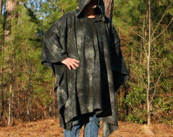 Moonshadow - A Hooded Poncho in Tie Dye Fleece with Vneck
