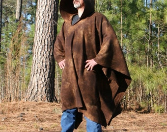 Earthshadow - Hooded Fleece Poncho with Vneck - Rich Tie Dye Brown