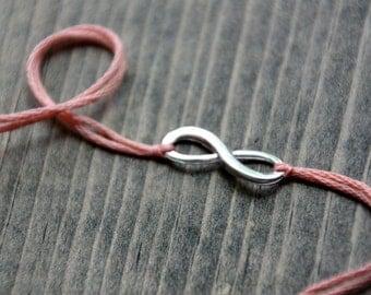 wedding infinity jewelry valentine gift friendship bracelet pastel peach wish bracelet silver infinity jewelry best friend bridesmaid gift