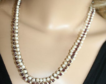 Crochet Gold Knitted necklace- white pearls and garnets-Bridal fit for a bride