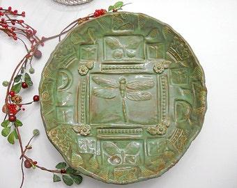 Serving Bowl - Ceramic Dragonfly Bowl - Handmade Dinnerware - Pottery Plate