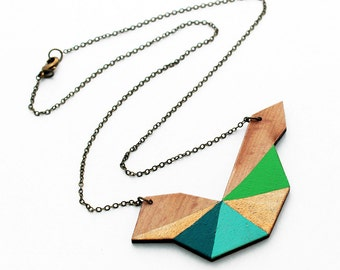 Geometric polygon wooden necklace - lime green, gold, turquoise blue, petrol blue, natural wood - minimalist, modern jewelry