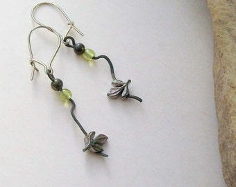 Floating Leaves Silver Earrings- Naturally Oxidized - Handmade OOAK - Free US Shipping - Peridot Green Glass, Kidney Hoops, Sterling