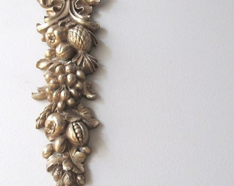 gold wall decor cascading fruit vintage syroco wall hanging