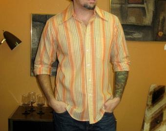 1970s Orange Stripe Dress Shirt