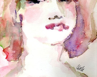Womans Face in Pink and Lavender Original Watercolor and Ink Painting The Pretty One 9x12