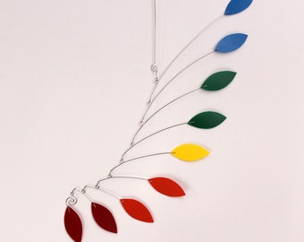 Calder Inspired Baby Mobile Sculpture - Rainbow Hanging Leaf Mobile - 15w x 25t - 11011101