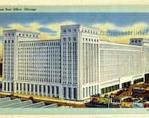1940s Linen Postcard. New Post Office, Chicago, Illinois
