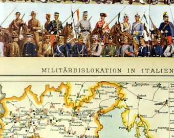 1897 Antique German Map of Military Deployment in Italy