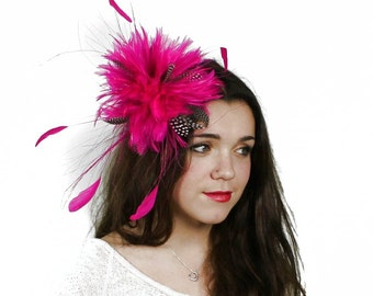 Guinea Fuchsia Fascinator Hat for Weddings, Occasions and Parties on a Headband