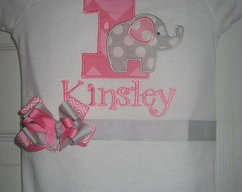 Boutique First Birthday Elephant monogrammed one piece with bow