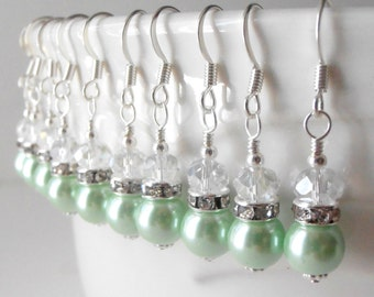 Mint Bridesmaid Earrings Mint Bridal Jewelry Pearl Earrings Wedding Jewelry Sets Small Dangles Bridesmaid Gift Silver Finish, Avalon