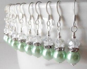 Small Mint Green Pearl Dangle Earrings, Mint Bridesmaid Earrings, Pastel Green Easter Jewelry