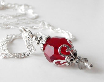 Red Bridesmaid Necklace, Red Crystal Pendant Necklace, Beaded Jewelry, Red Wedding Jewelry, Swarovski Elements Crystal Necklace, Handmade