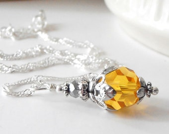 Yellow Bridesmaids Necklaces Crystal Pendant Swarovski Elements Yellow and Silver Wedding Jewelry Beaded Jewelry Bridesmaid Gift Handmade