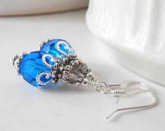 Cornflower Blue Crystal Earrings Blue Bridesmaid Jewelry Faceted Crystal Dangles Capri Blue Wedding Jewelry Sets Beaded Bridesmaid Earrings
