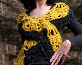 Crochet boho scarf shawl wrap crochet chunky lace unique designer shawl shoulder warmer charcoal citron - Modern Lace