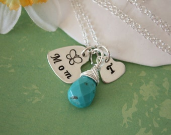 Mother Necklace Personalized, Birthstone Charm, Sterling Silver, Initial Charm