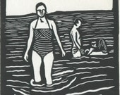 Swimming Linocut Card - Black Ink on White Card