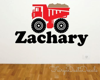 Dump Truck wall decal with Boy Name - construction wall decal - boys room construction decals - dump truck with name - truck decal for boys