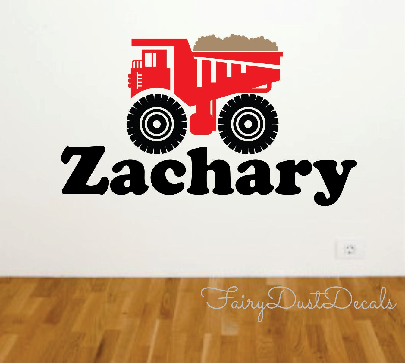 dump truck wall decal with boy name construction wall decal. Black Bedroom Furniture Sets. Home Design Ideas