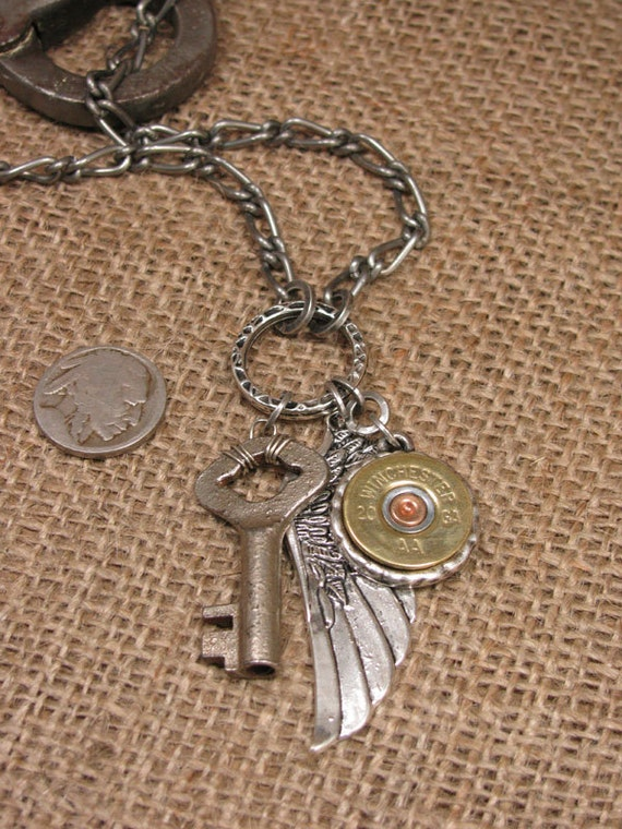 Shotgun Casing Jewelry  - Unisex Skeleton Key and Shotgun Casing Winged Pendant Necklace - Just like Stephen Tyler's from Aerosmith