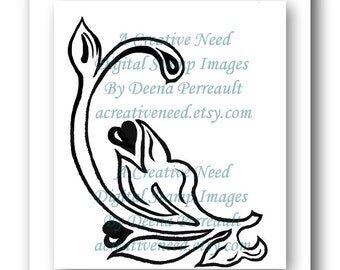 INSTANT Download Digital Stamp Image FLOURISH 1 Hearts