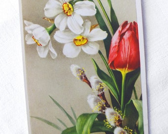 French Vintage Flower Postcard - Vintage Birthday Card - Collectible Antique Boho Chic Card - French Souvenir Card - Lovely Home Decor