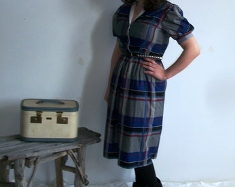 1980's Vintage School Girl Plaid Dress