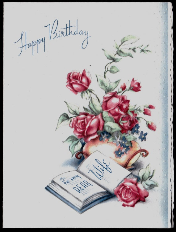 Vintage WIFE Happy Birthday Greeting Card By Vintagerecycling