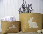 spring decor - burlap - large - bunny silhouette - white - natural - decoration - garden - nursery