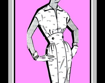 Vintage 1950s- ROCKABILLY SWEETHEART Wiggle Dress- Mail Order Sewing Pattern-Empire Nipped Waist-Back Belt -Wing Collar-Uncut- Size 14- Rare