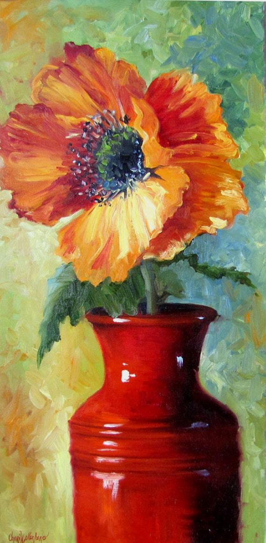 Red Poppy Flower in Bright Red Vase Original Oil Painting