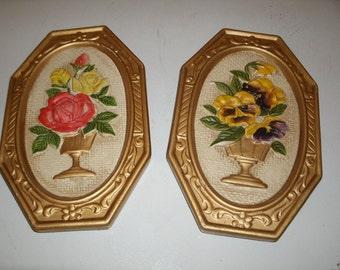 Vintage Chalkware Plaques